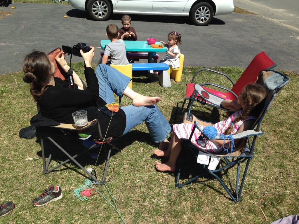 Lunch on the front lawn. Bella dragged the table out front so they could have a picnic.