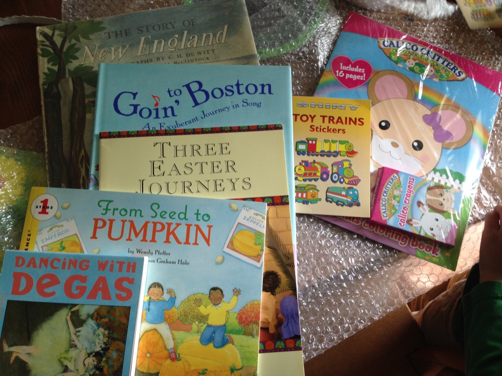 Books! From kind blog reader M.E. The children were thrilled.