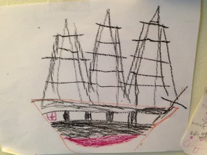 Bella's drawing of the U.S.S. Constitution.
