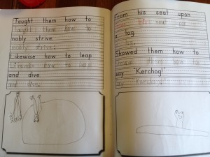 Sophie's copywork. All the creatures on these pages are frogs. But the ones on the left look like bats to me.