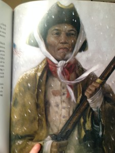Ben's inspiration, an American soldier at Valley Forge, from the picture book about Valley Forge.