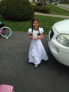 She wore her dress again to Mass the next day.
