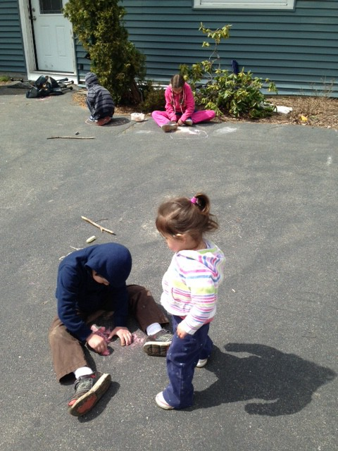 Chalking in the driveway