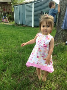 Lucy in a twirl dress