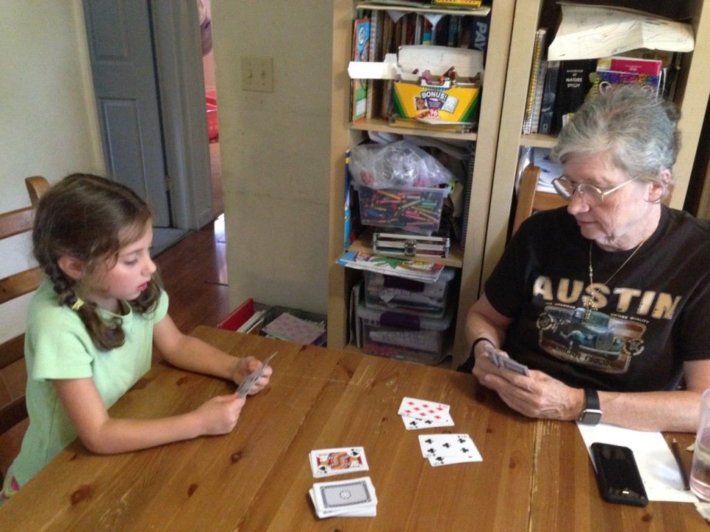 Playing cards with Grandma.