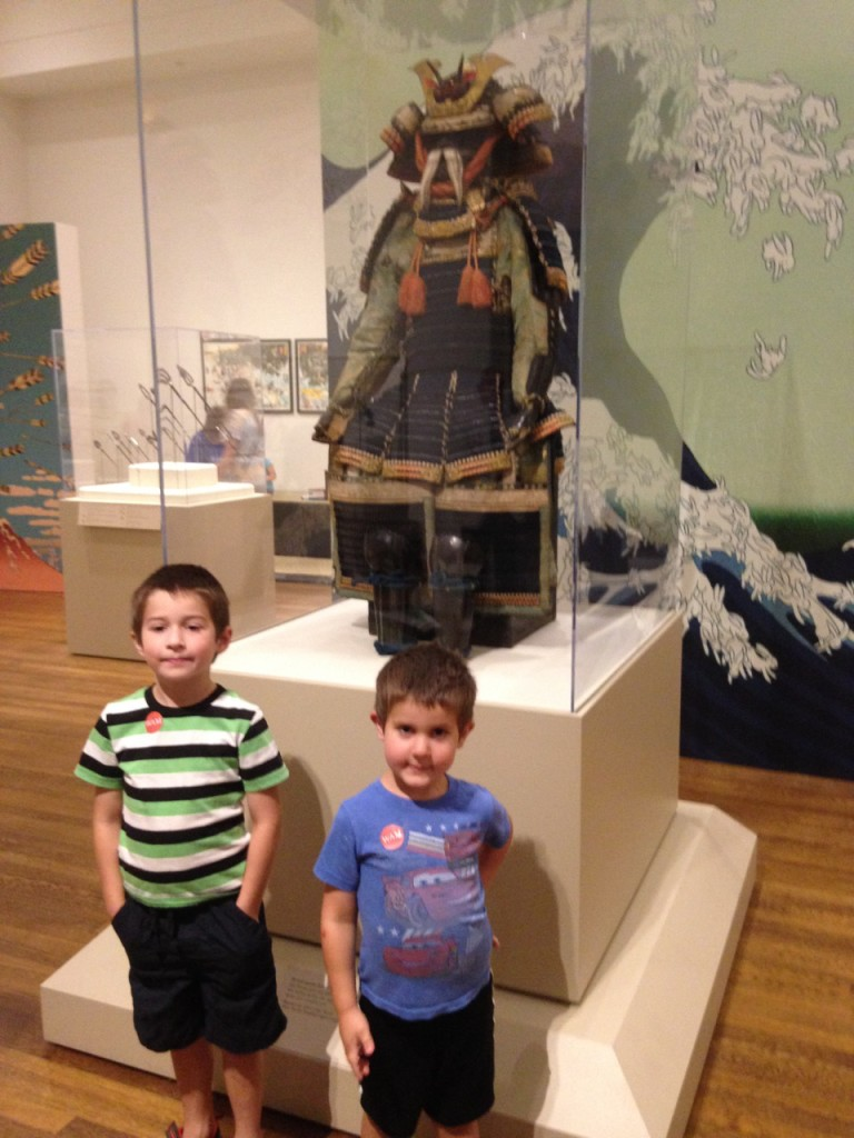Samuria at the Worcester Art Museum. The Great Wave with bunnies was one of Ben's favorites.