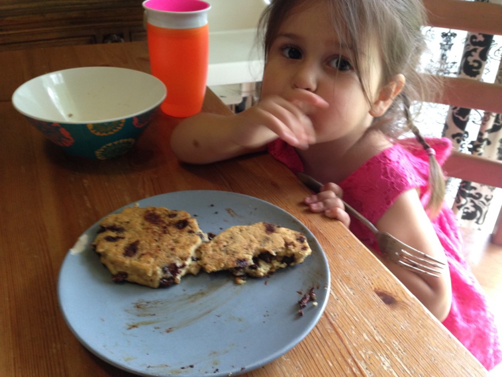 Allergy-friendly  chocolate chip pancakes for Lucy.