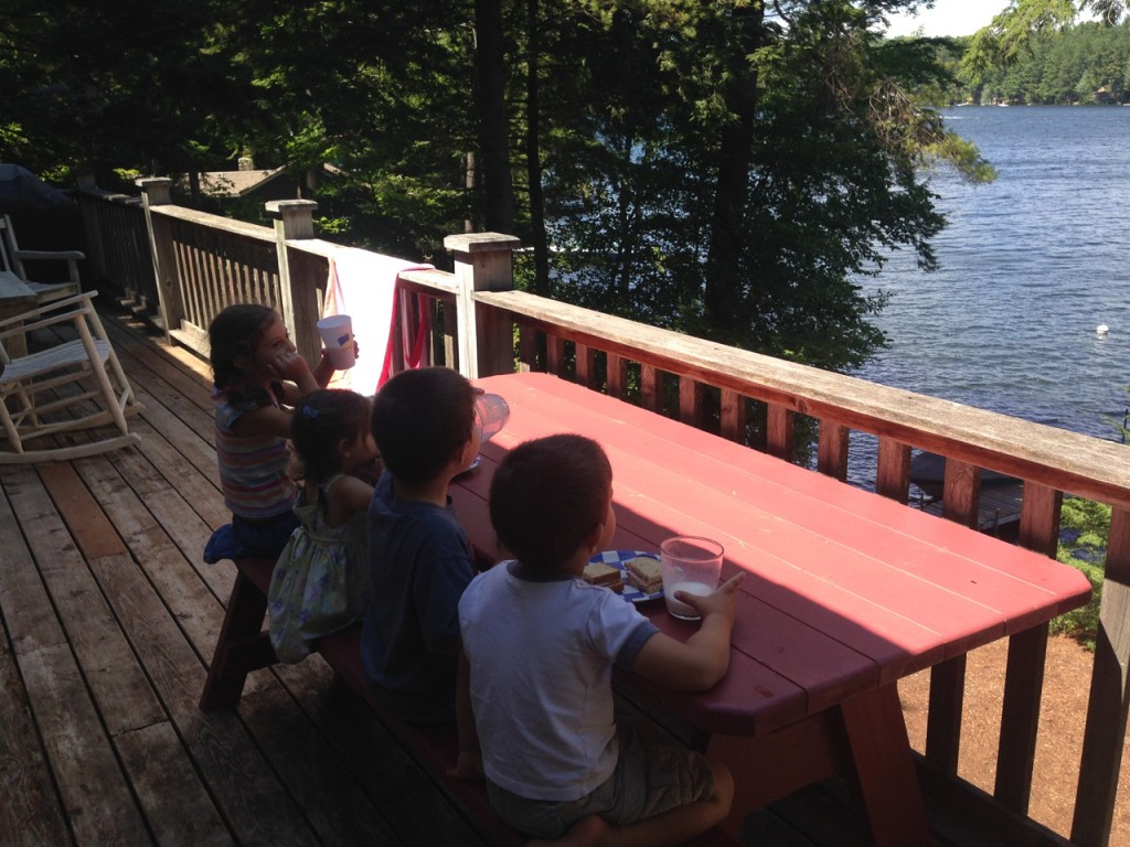 Our first meal at the lake. Sandwiches on the deck.