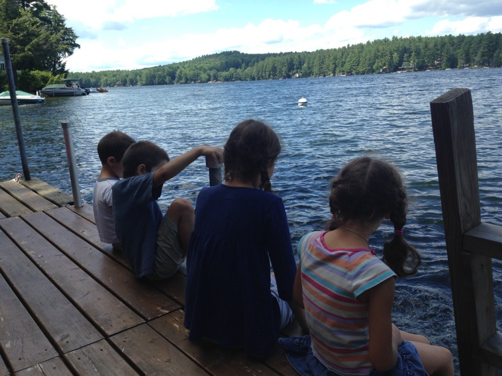 Four kids on the dock.