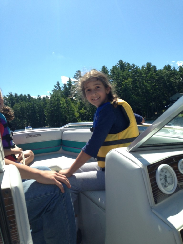 Bella on the boat.