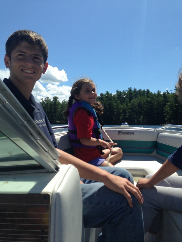 Sophie and Cousin Domenic on the boat.