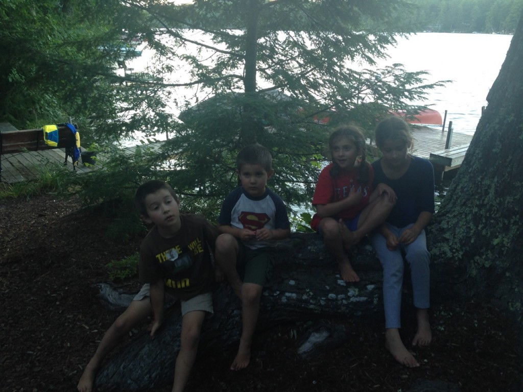 Four kids on a tree root perch.