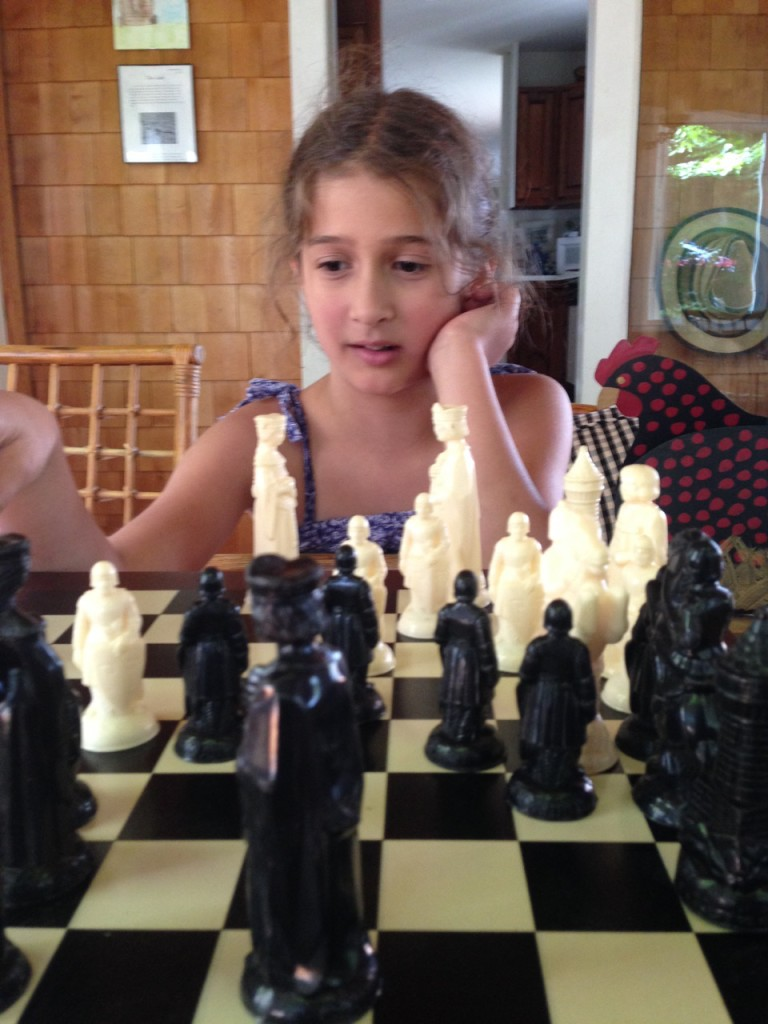 Teaching Bella chess.