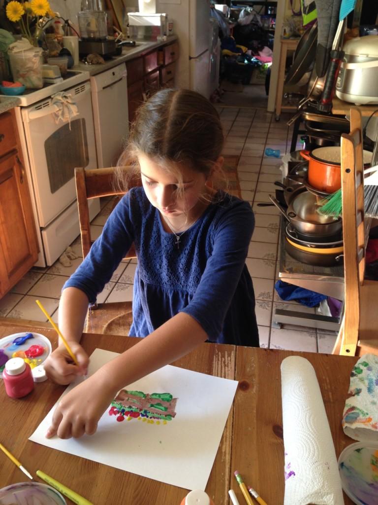 Bella paints.