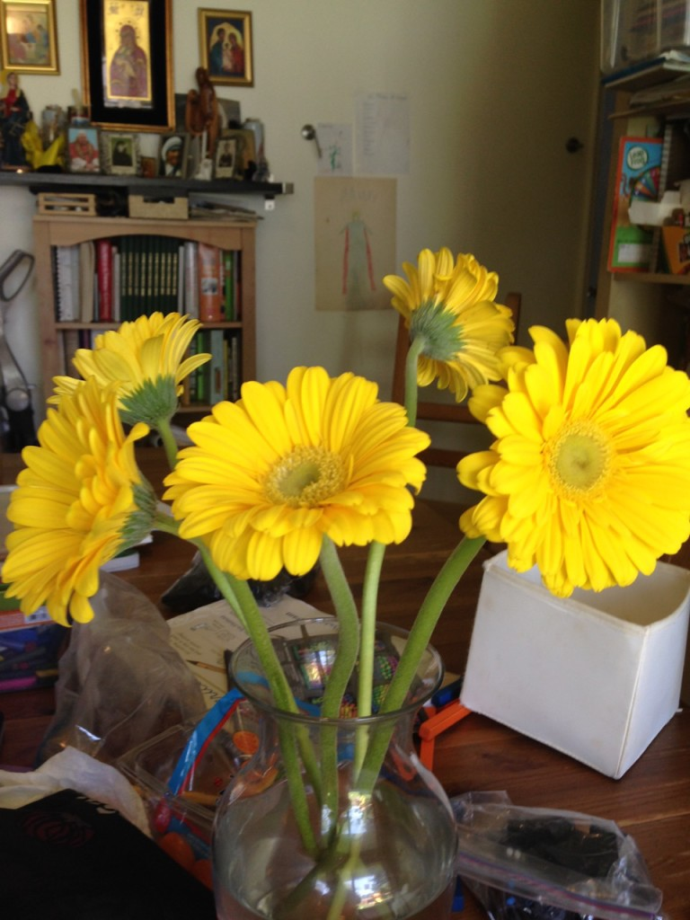 Dom brought me flowers for our anniversary.