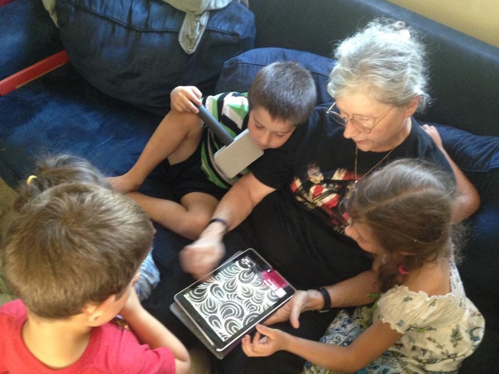 Looking at paisley patterns with Grandma.