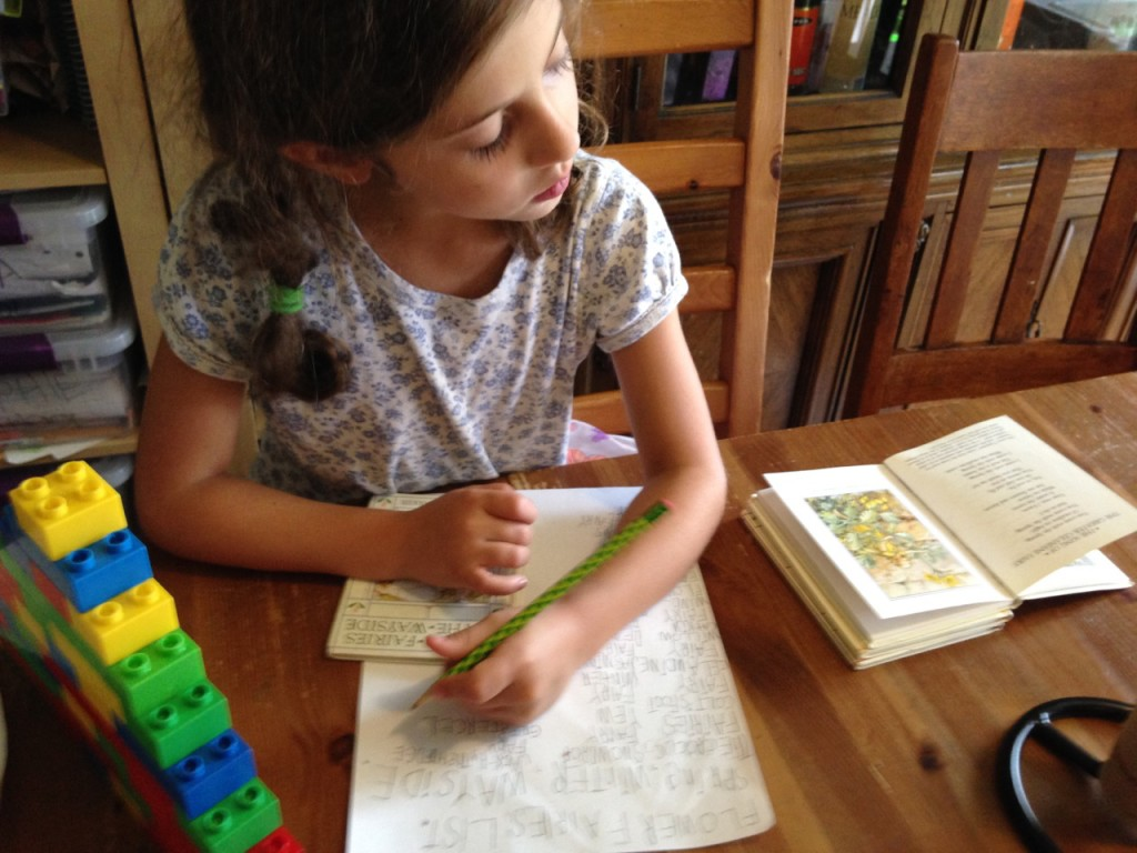 Sophie copies out a list of all the Flower Fairies.