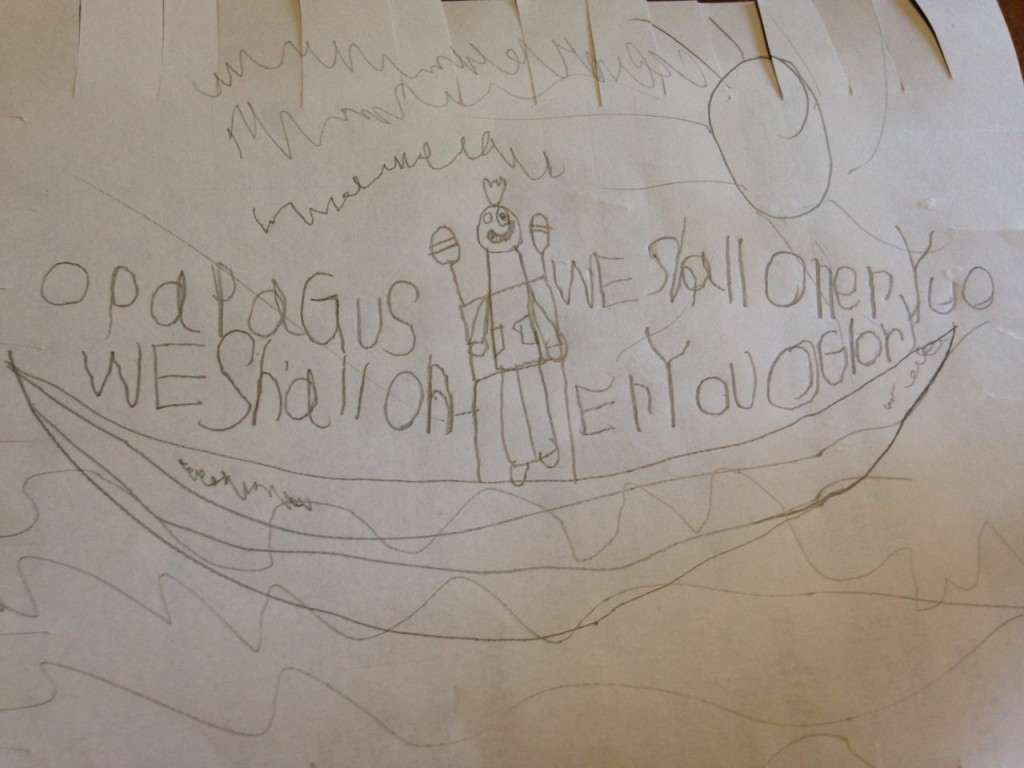 Sophie's picture of Papagus, the pirate god.