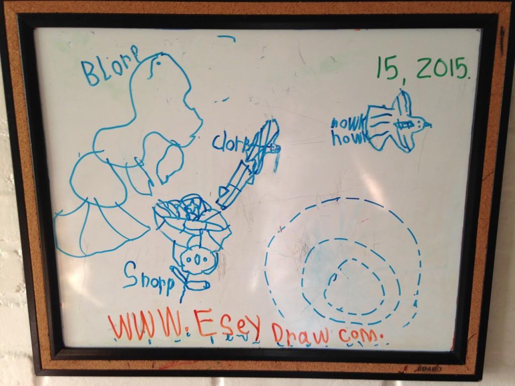 Sophie's whiteboard art.