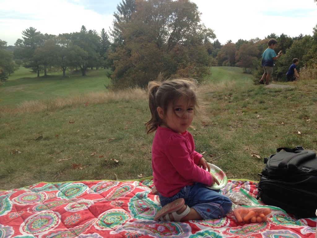 Picnicking with Lucy.