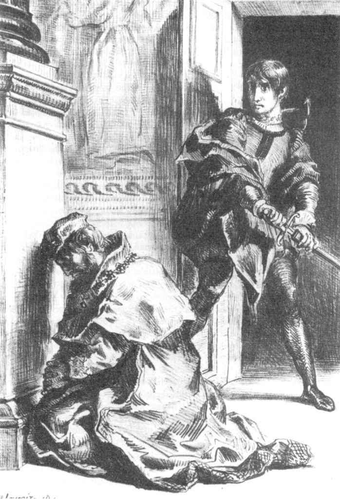 Eugène Delacroix (1843): Hamlet, Act III, Scene 3 --Hamlet comes upon the king at prayer. via Wikimedia Commons