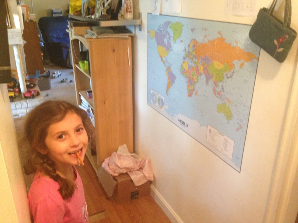 Sophie admires our new map.