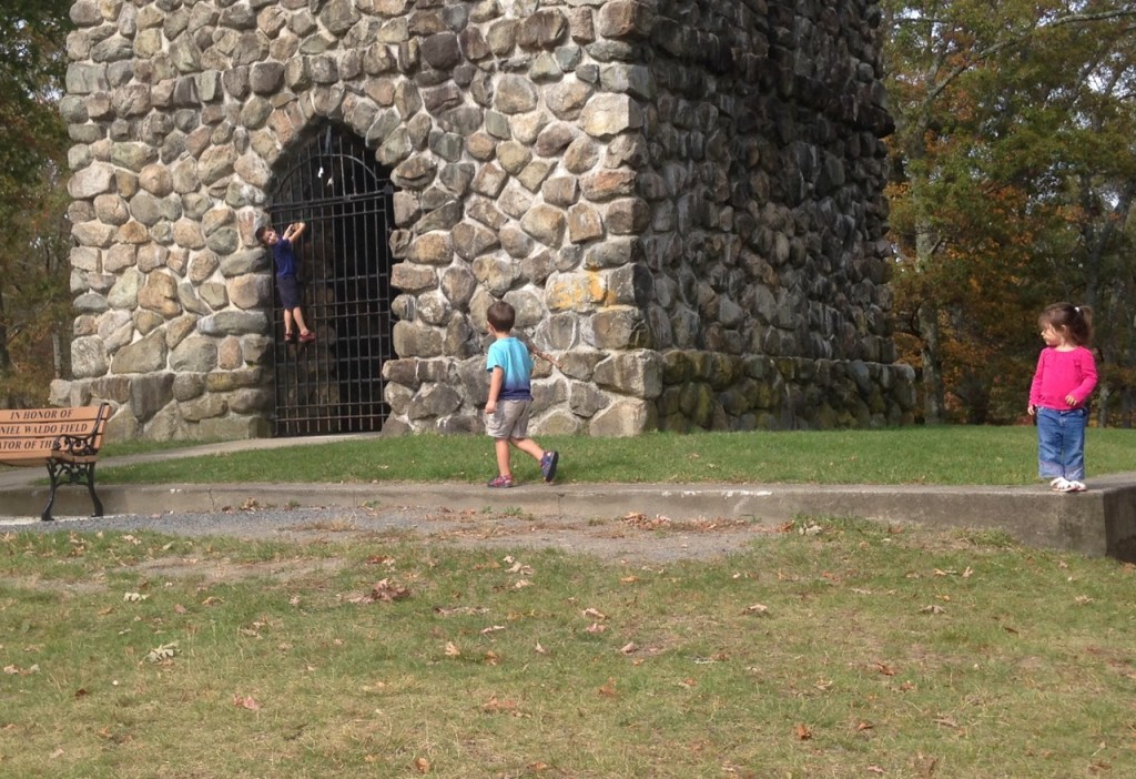 At the park, Ben storms the castle.