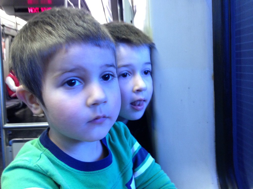 Ben and Anthony on the train.