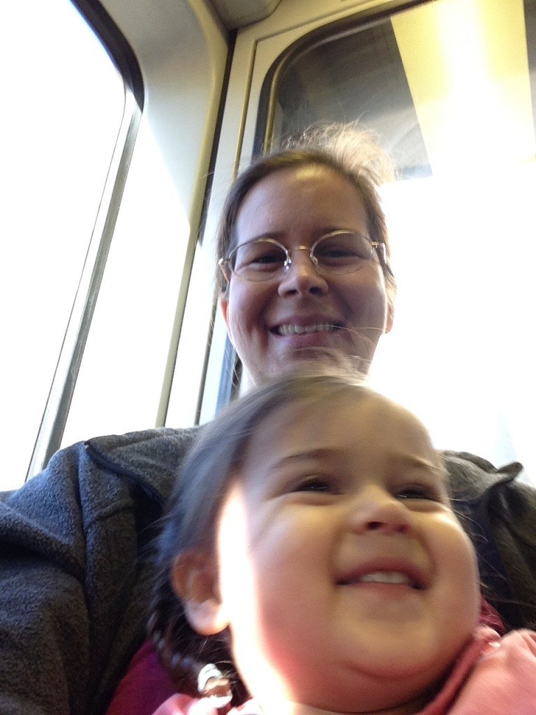 Selfie with Lucy on the train.