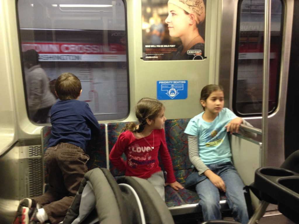 Kids on the train.