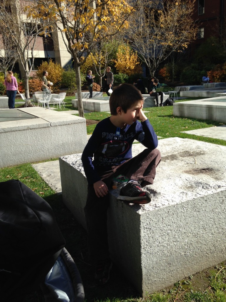 Lunch break in the sun: contemplative Ben.