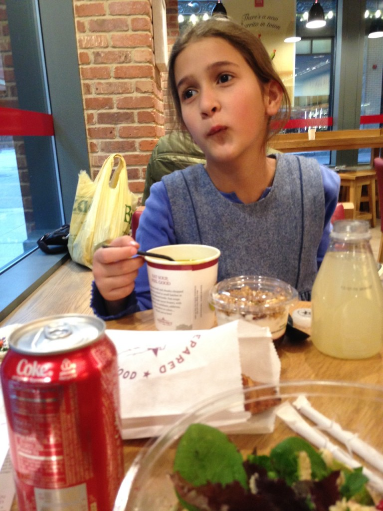 Bella had chicken noodle soup, blueberry yogurt, and a croissant.