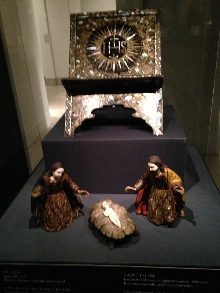 Nativity scene and lectern from the Made in the Americas exhibit.