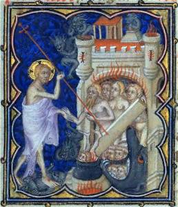 The Harrowing of Hell, from a 14th century manuscript, via Wikimedia Commons