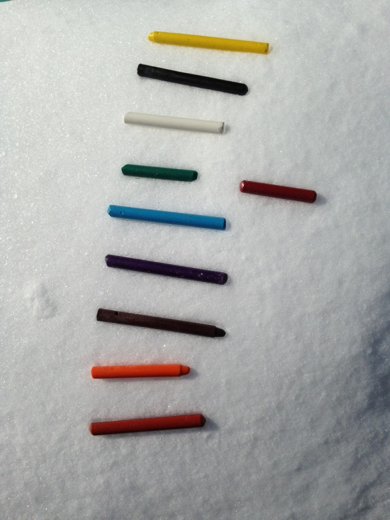 Crayons on the snow