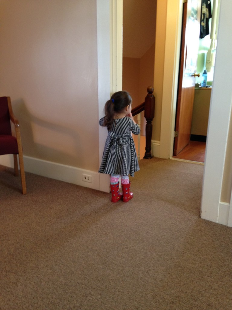 At the dentist. Lucy kept going and staring into the treatment room.
