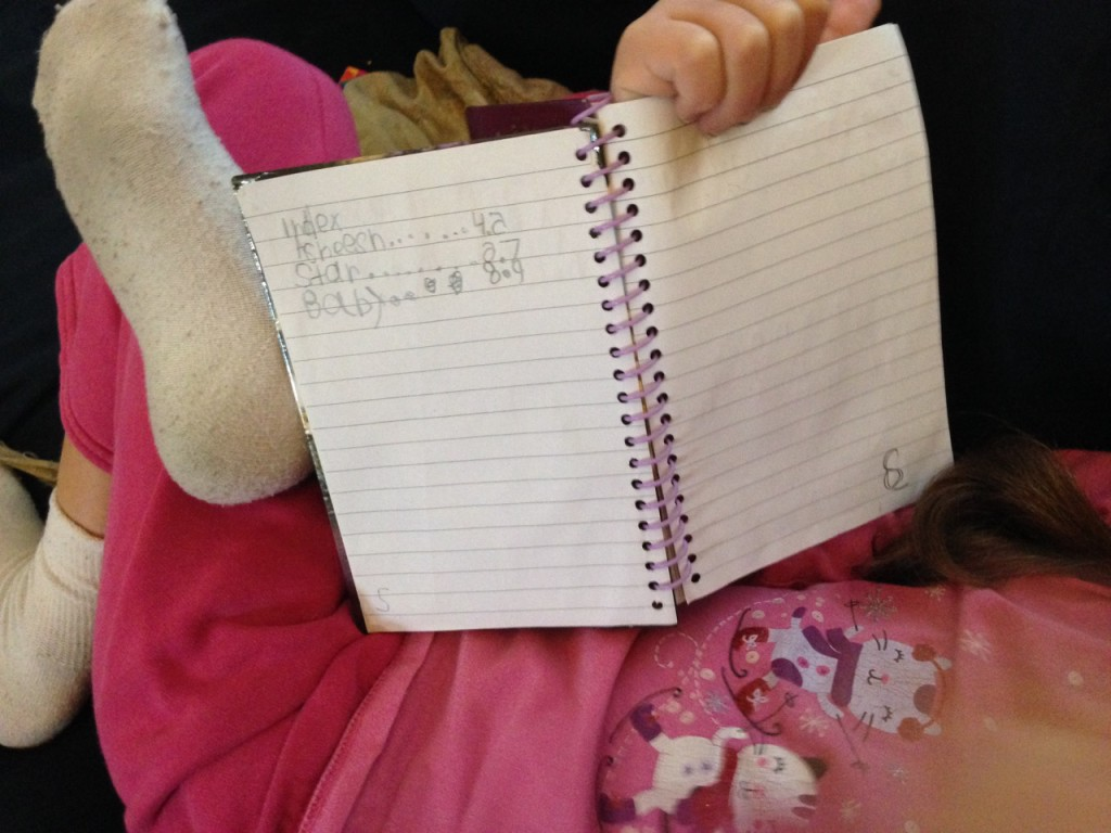 Sophie has created an index for her notebook. Brilliant.