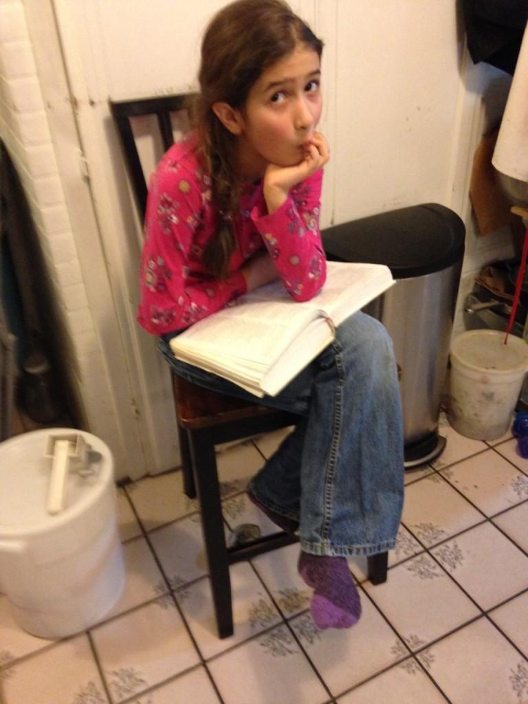 Bella reads Joy of Cooking.