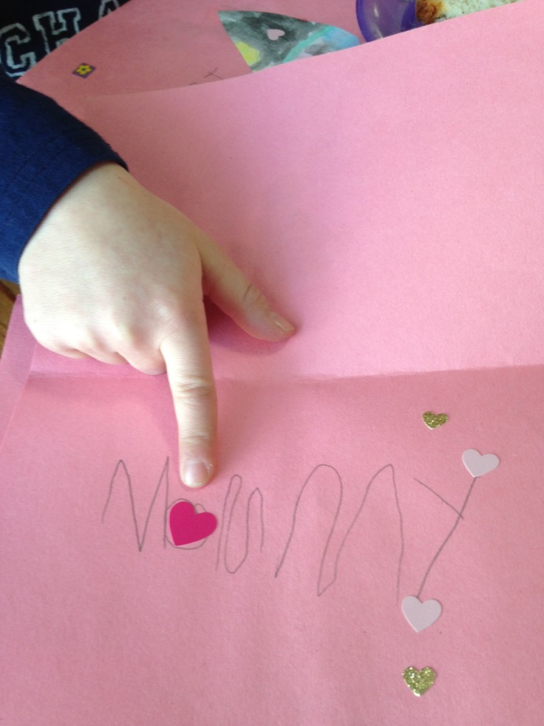 Ben made me a Valentine. See it says Mommy.