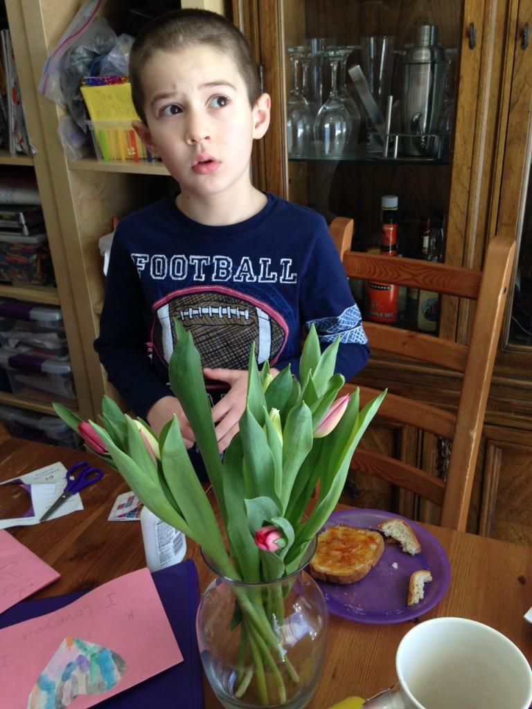 Ben with Valentines tulips.