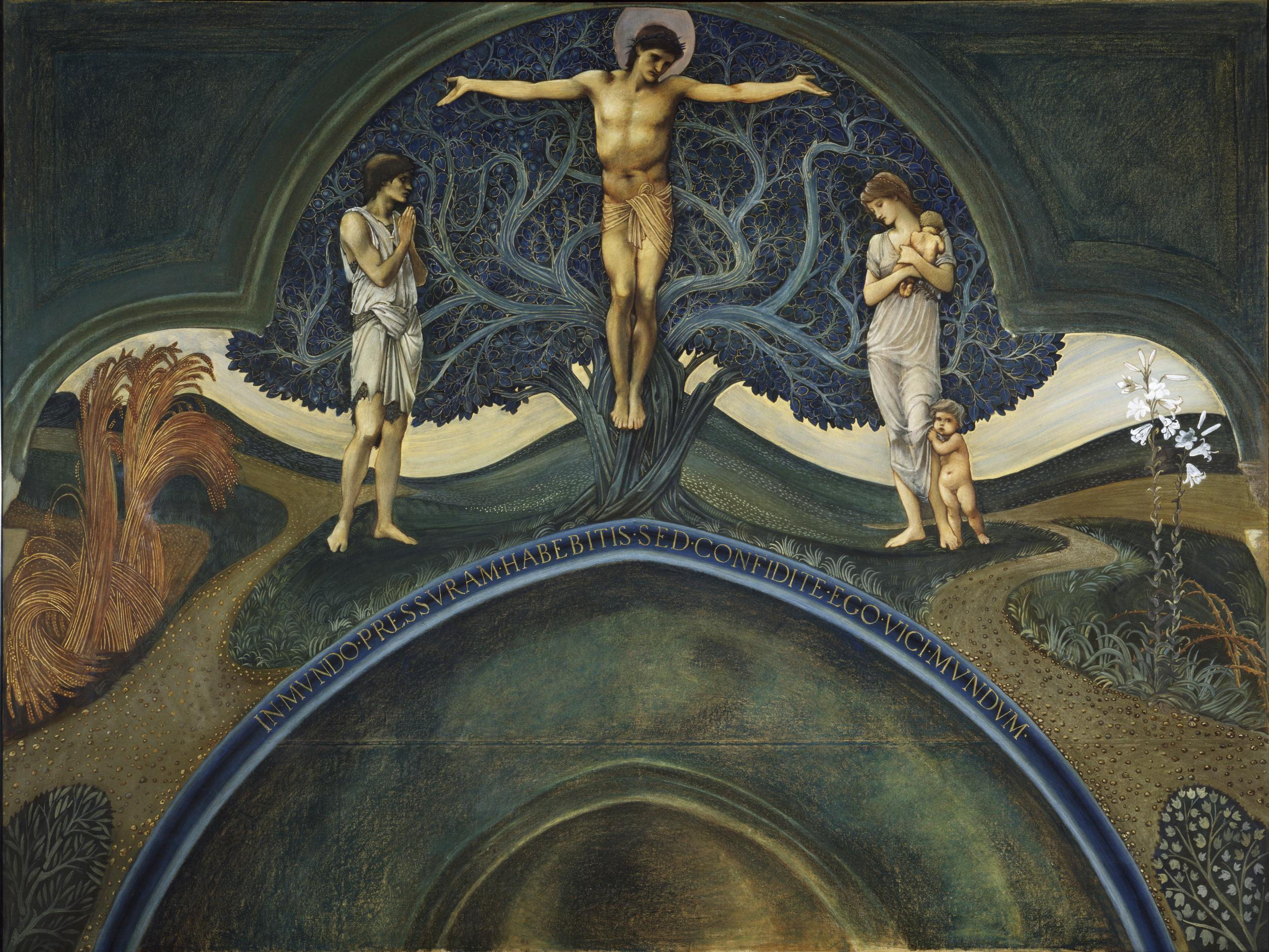 """Tree of Life by Sir Edward Burne Jones  © Victoria and Albert Museum, London Inscription reads: """"You shall have affliction in the world, but have faith, for I have overcome the world'"""