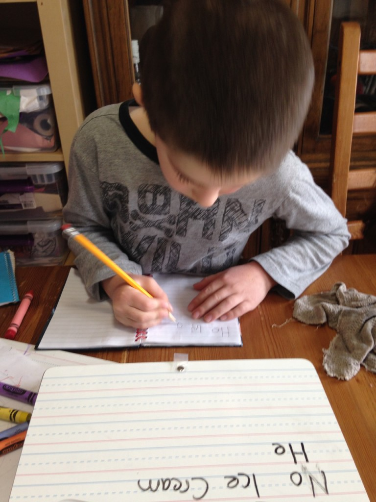 Ben writing.