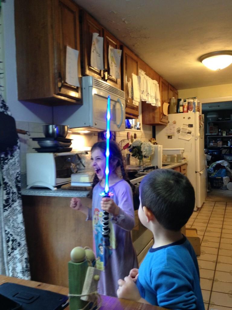 Sophie's birthday, a light saber.