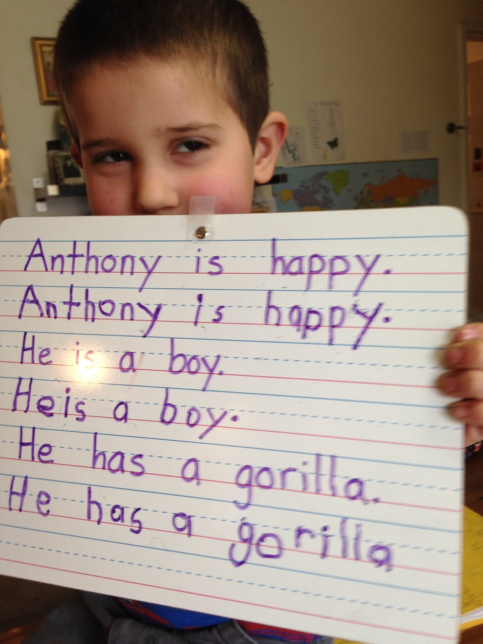 Anthony's copywork.