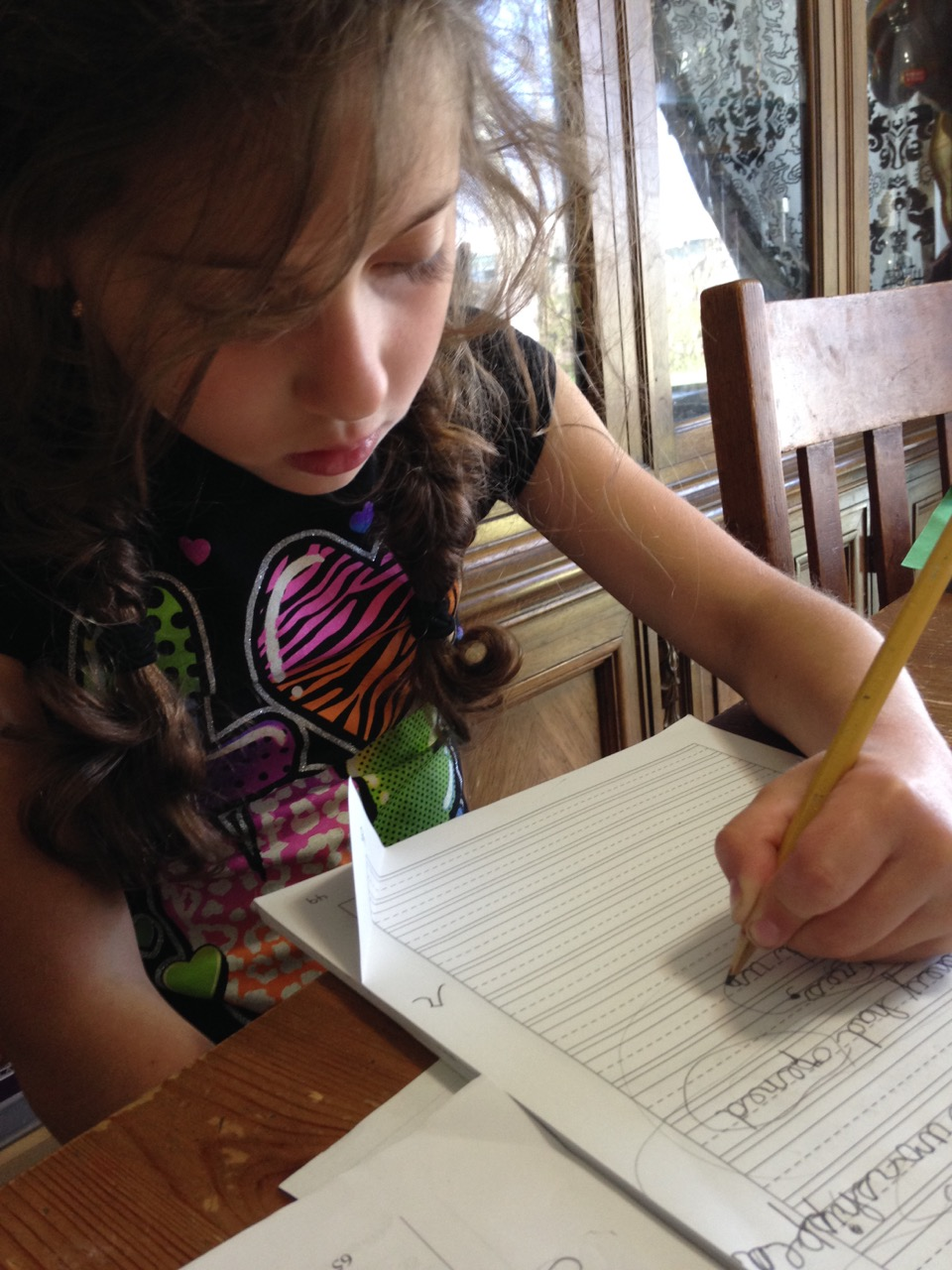 Sophie writing.