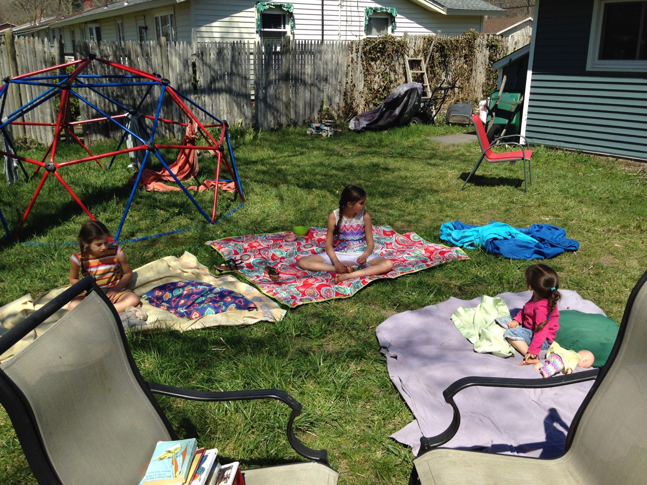 The girls opt for the sunnier spots.
