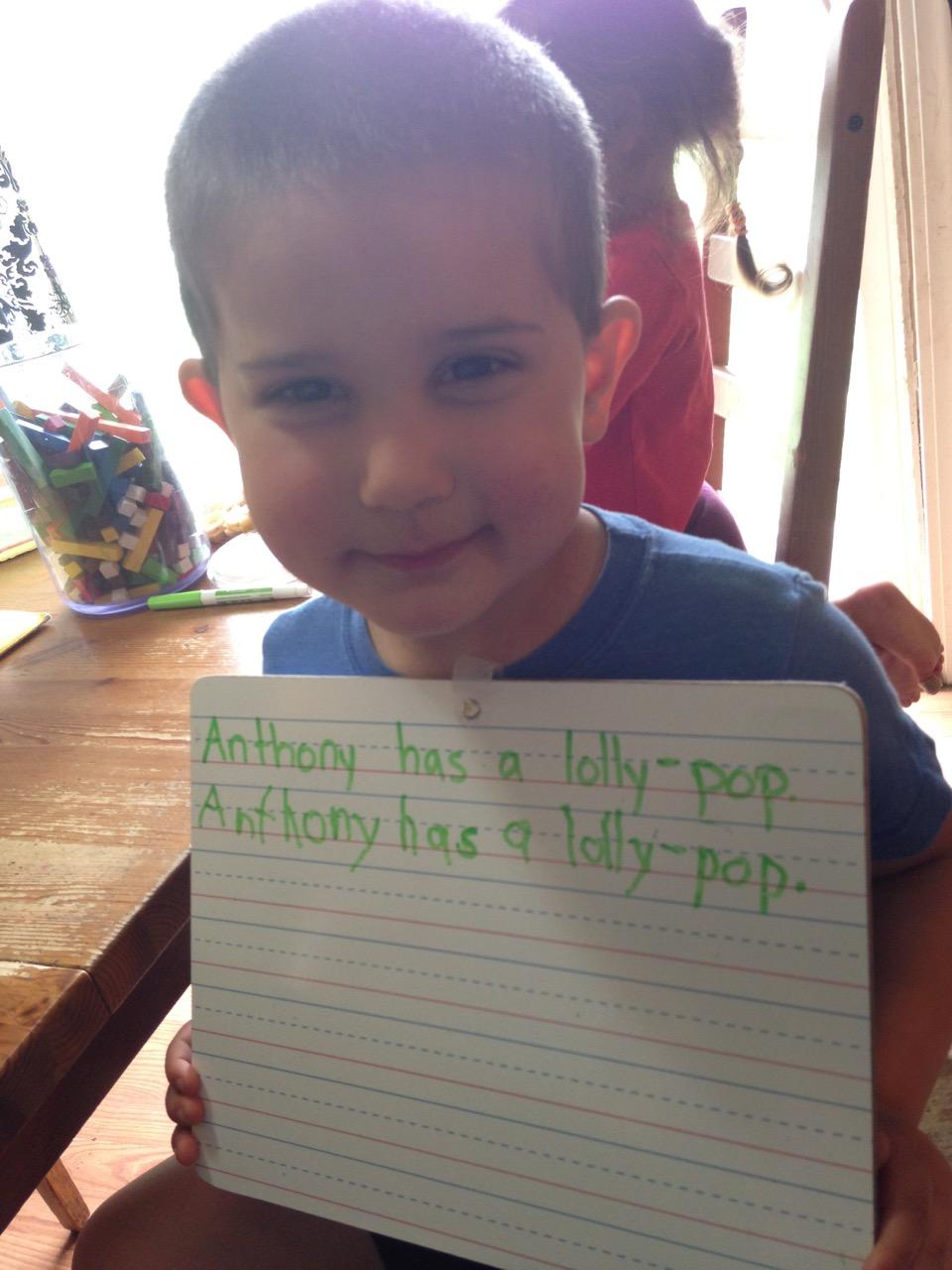 Anthony's copywork.