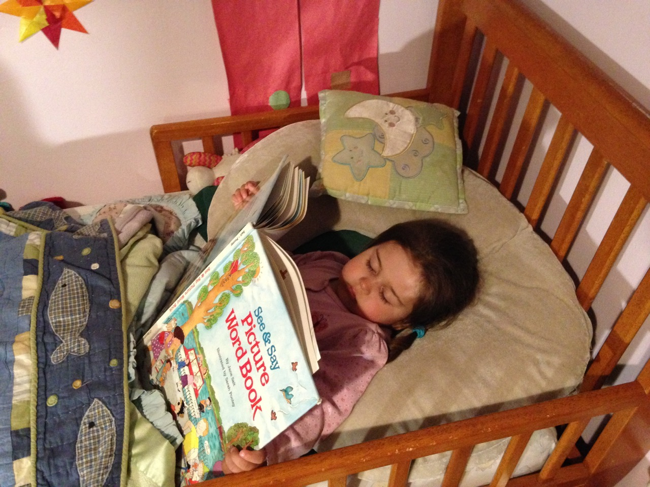 Lucy fell asleep while reading in bed.