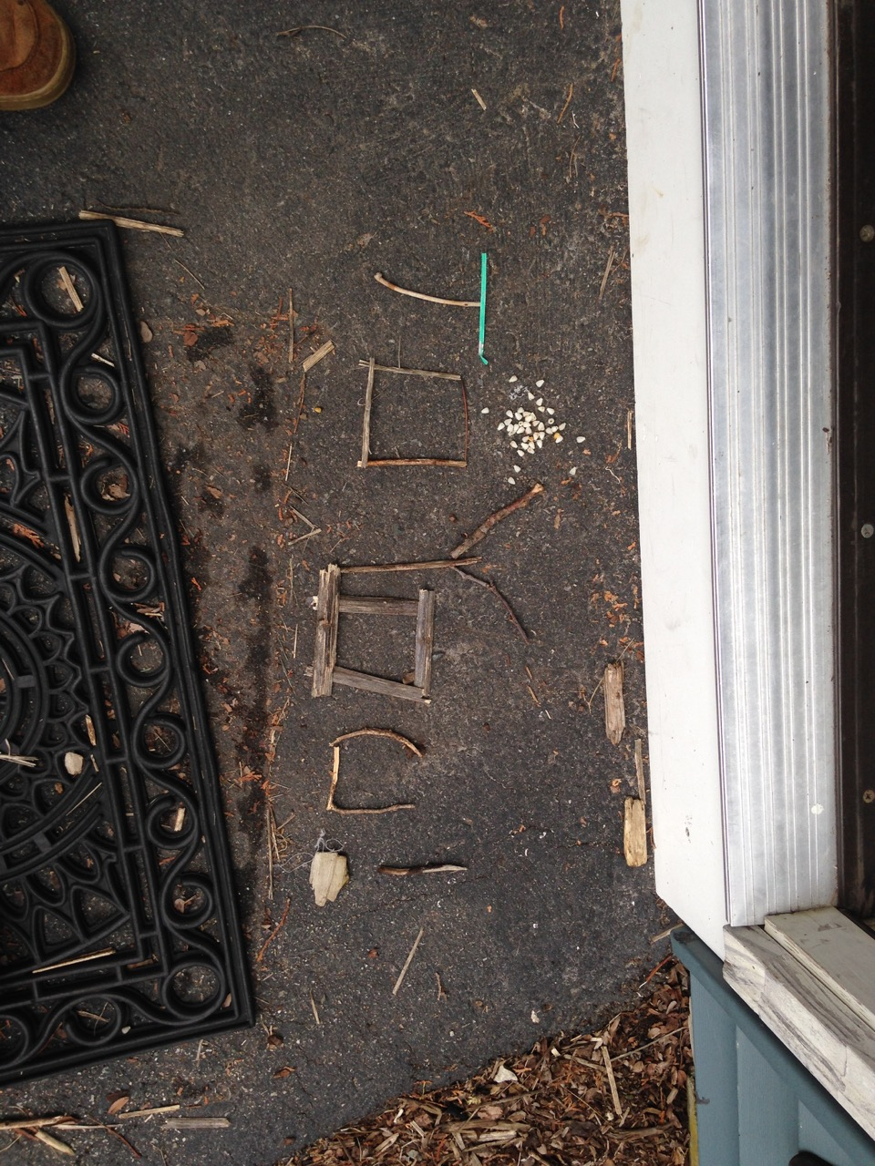 A message on the doorstep.