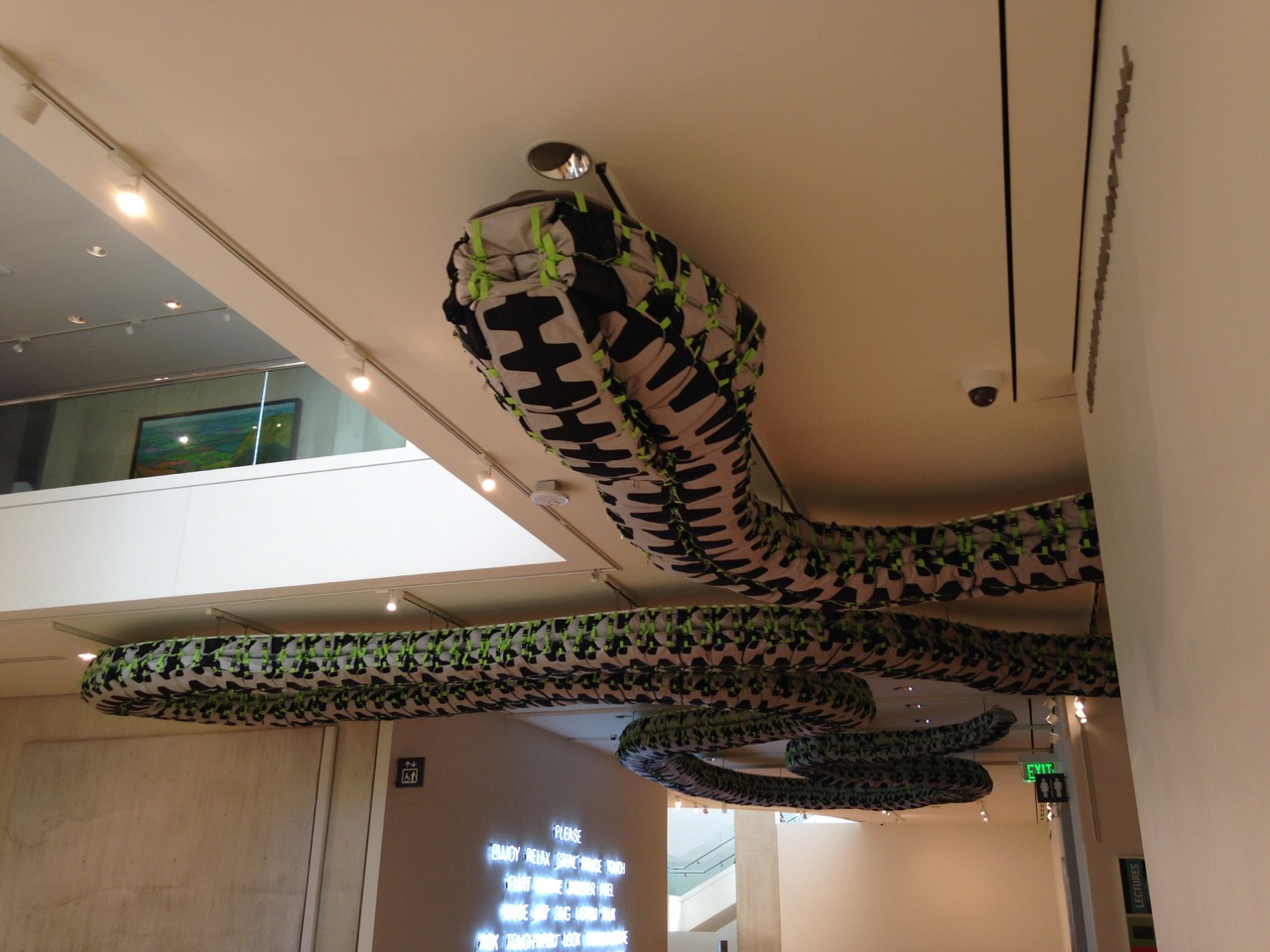 Another piece by Ai Weiwei, a snake made of backpacks, part of the Megacities Asia exhibit.